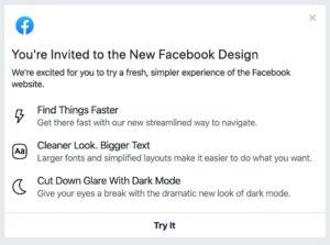 facebook dark mode web app